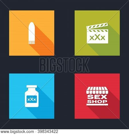 Set Dildo Vibrator, Movie Clapper With Sex, Bottle Pills For Potency And Shop Building Icon. Vector