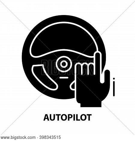 Autopilot Icon, Black Vector Sign With Editable Strokes, Concept Illustration