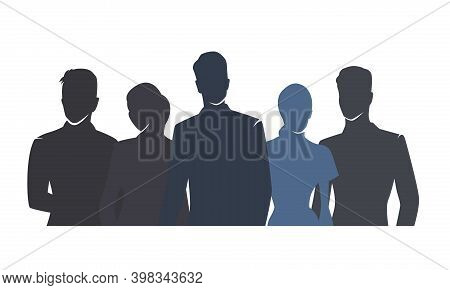 Business People Vector Drawing, Flat Design Isolated Silhouettes. Group Of People, Men And Woman In