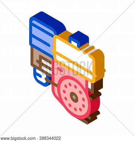 Engine Motor Kart Color Icon Vector. Isometric Engine Motor Kart Sign. Color Isolated Symbol Illustr