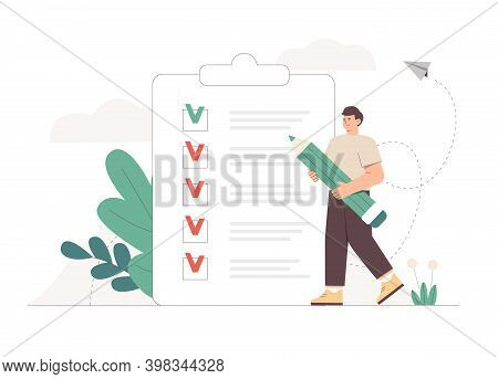 Young Man Holding Giant Pencil Looking At Completed Checklist On Clipboard. The Concept Of Successfu