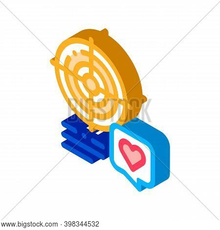 Shopper Target For Buy Products Color Icon Vector. Isometric Shopper Target For Buy Products Sign. C