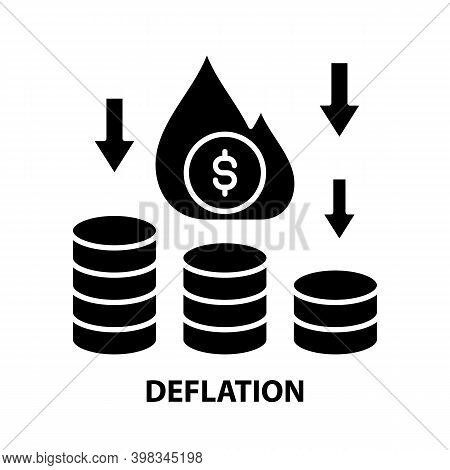 Deflation Icon, Black Vector Sign With Editable Strokes, Concept Illustration
