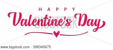 Happy Valentines Day Pink Typography Banner. Valentine Day Greeting Card Template With Lettering Tex