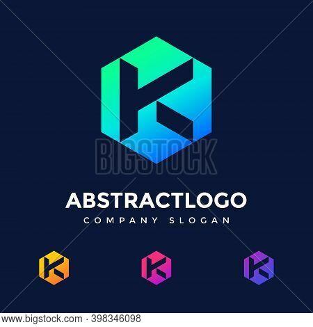 Letter K Logo Design, K Letter Initial  Logo, Technology Company Concept And Idea K Logo, Data, Vect