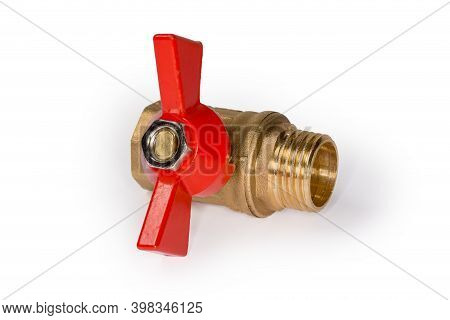 Closed Ball Valve With Brass Body And Red Butterfly Handle On A White Background, View From Handle S