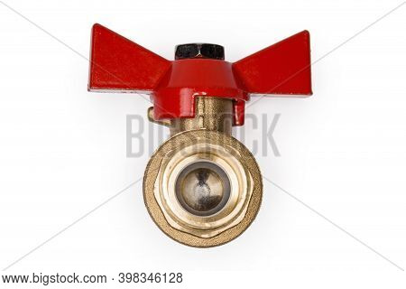 Closed Ball Valve With Brass Body And Red Butterfly Handle On A White Background, View Of The Valve