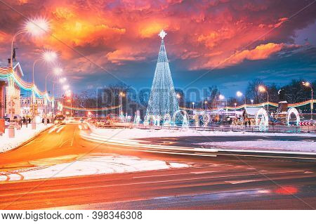 Gomel, Belarus. Main Christmas Tree And Festive Illumination On Lenin Square In Gomel. New Year In B