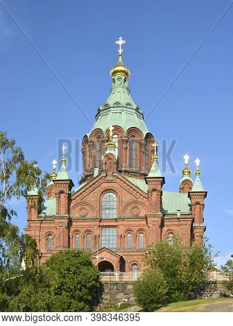 Helsinki, Finland. July, 23, 2014. Uspenski Cathedral. Hilltop Center Of The Finnish Orthodox Faith