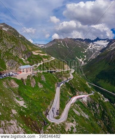 Aerial View Of The Alpine Road Through Furka Pass, Switzerland. Furka Is A High Mountain Pass In The