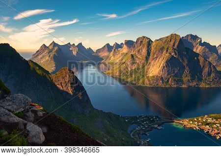 Mountains And Fjords Around The Reine Fishing Village In Lofoten Islands, Norway Viewed From The Mt.