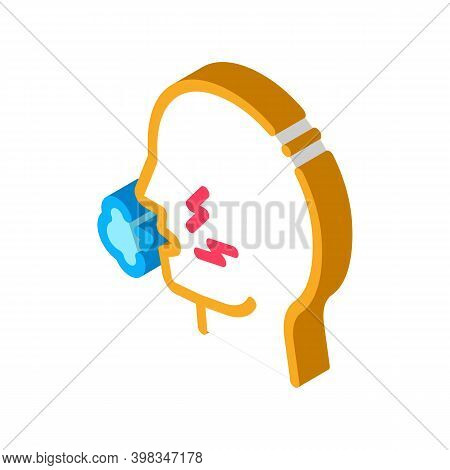 Cough Asthma Color Icon Vector. Isometric Cough Asthma Sign. Color Isolated Symbol Illustration
