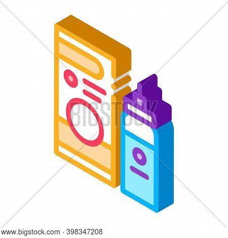 Medicaments Asthma Treatment Color Icon Vector. Isometric Medicaments Asthma Treatment Sign. Color I