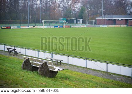 Oldenzaal, Netherlands - December 6, 2020:  Empty Soccer Field On A Weekend Day During The Covid-19