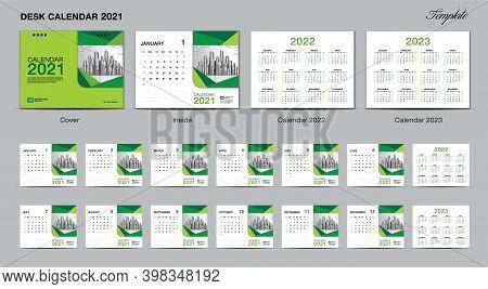 2021 calendar, Set Desk Calendar 2021 template design vector, wall calendar 2021, Calendar 2022, 2022, 2022, Green cover design, Set of 12 Months, Week starts Sunday, Stationery design, flyer, printing layout, publication template, advertisement, planner