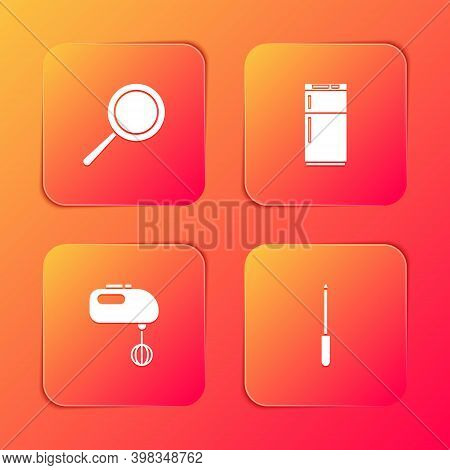 Set Frying Pan, Refrigerator, Electric Mixer And Knife Sharpener Icon. Vector