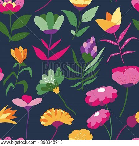 Lilac And Daisies Flowers In Bloom Pattern Vector
