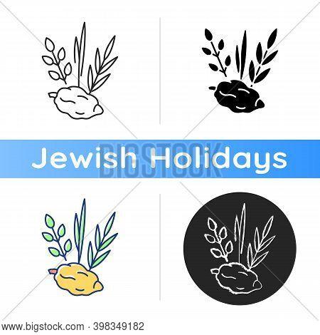 Four Species Icon. Jewish Holiday. Etrog, Lulav, Hadas, Arava. Sukkot Week-long Festival. Symbolic M
