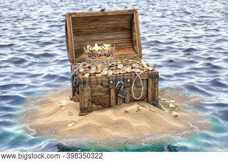Open treasure chest full of golden coins on sandy island. Wealth and treasure concept. 3d illustration