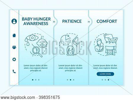 Breastfeeding Tips Onboarding Vector Template. Baby Hunger Signals Understanding. Motherhood Comfort