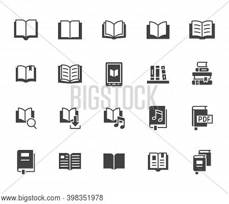 Book Flat Icons Set. Open Books, Dictionary, Bible, Audio Novel, Dictionary, Literature Education Bl