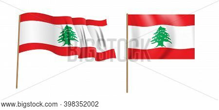 Colorful Naturalistic Lebanese Republic Waving Flag. Illustration