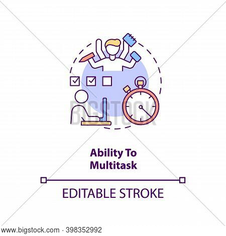 Ability To Multitask Concept Icon. Office Manager. Worker Productivity. Virtual Assistant Skill Idea