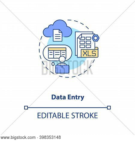 Data Entry Concept Icon. Information Manual Input To Document. Employee At Computer. Virtual Assista