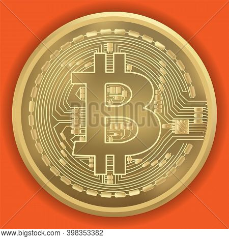 Gold Bitcoin Coin. Gold Cryptocurrency Coin On Orange Background. Vector Illustration