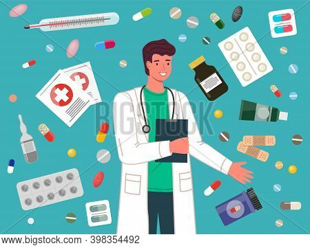 Doctor Prescription And Pills, Man Medical Worker And Medicines. Medication, Pharmaceutic Concept. M