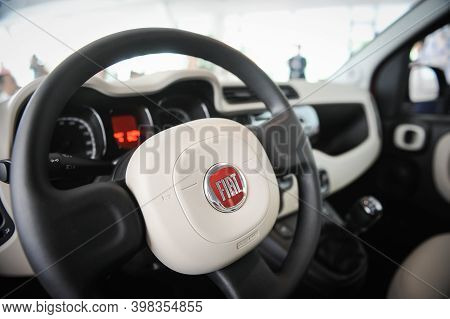 Bucharest, Romania - June 20, 2012: Details From Inside A Fiat Car With The Steering Wheel And The F