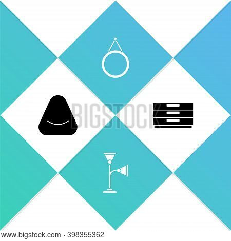 Set Pouf, Floor Lamp, Mirror And Chest Of Drawers Icon. Vector