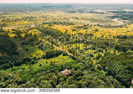 Dziemjanki, Gomel Region, Belarus. Aerial View Of Abandoned Dilapidated Manor House Gerard Nicholas