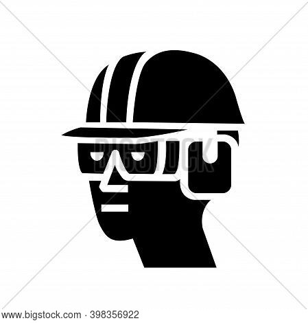 Wear Hard Hat, Chemical Goggles And Ear Muffs Black Icon, Vector Illustration, Isolate On White Back