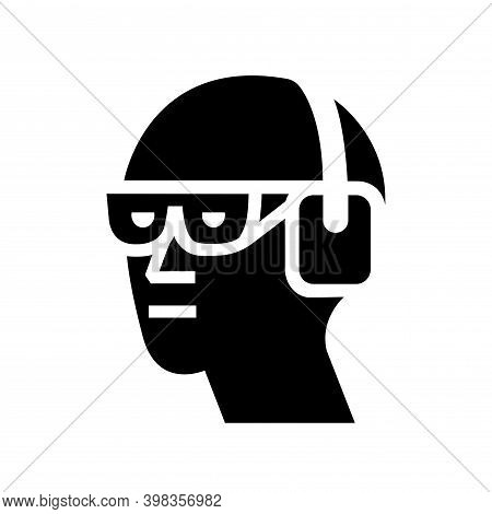 Wear Chemical Goggles And Ear Muffs Black Icon, Vector Illustration, Isolate On White Background Lab