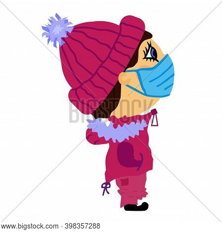 A Guy In A Medical Mask, Knitted Violet Hat With A Pompom, In A Ski Suit. Vector Boy Isolated On Whi