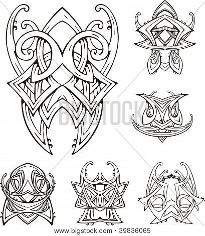 Symmetric tribal knot tattoos. Set of vector illustrations. poster