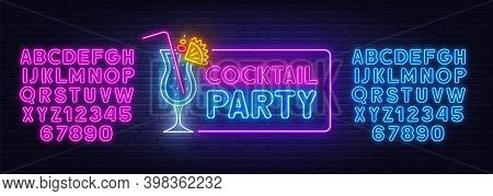 Cocktail Party Neon Sign On Brick Wall Background.