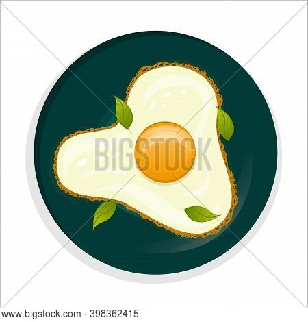 A Plate Of Delicious Fried Eggs And Basil Is Isolated On A White Background. Fried Eggs With A Crust