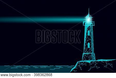 Lighthouse Tower Emit Light Lamps And Lenses Navigation For Maritime Pilots At Sea Ocean. Searchligh