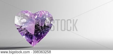 Heart shaped gemstone, precious jewelry. Valentine's day. 3D illustration