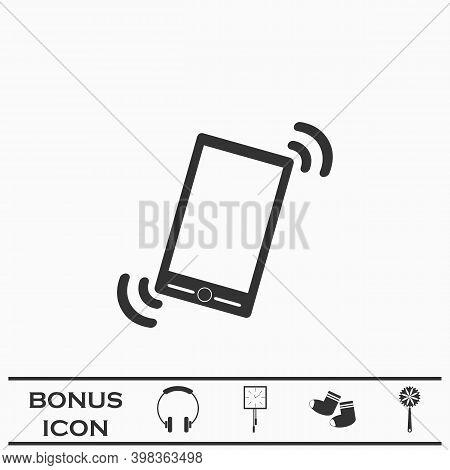 Smart Phone In Silent Mode Icon Flat. Black Pictogram On White Background. Vector Illustration Symbo