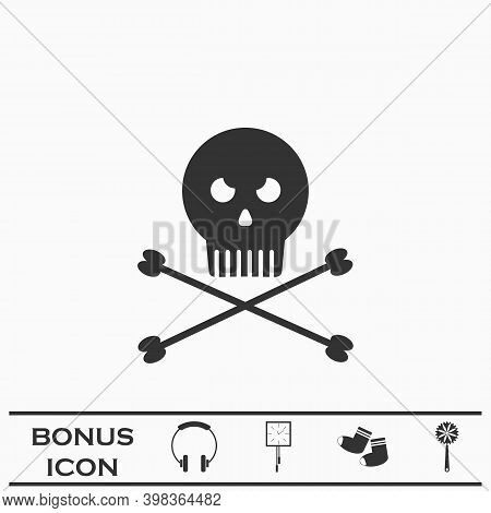 Jolly Roger Icon Flat. Black Pictogram On White Background. Vector Illustration Symbol And Bonus But