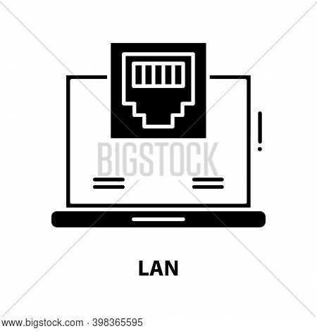 Lan Symbol Icon, Black Vector Sign With Editable Strokes, Concept Illustration