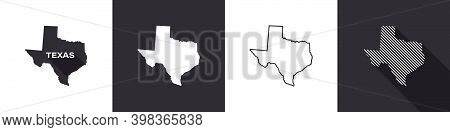 Map Of Texas. United States Of America Texas. State Maps. Vector Illustration