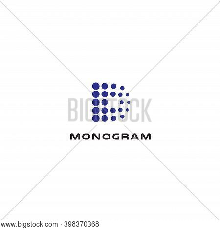 Dotted Letter D, Abstract Style Vector Logo Concept. Digital Innovation Technology, Isolated Icon On