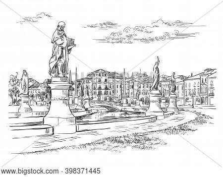 Venice Hand Drawing Vector Illustration Prato Della Valle