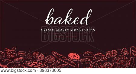 Bakery Decor Design Template With Bottom Pattern With Desserts, Bread, Loaf, Wheat, Baguette, Donut,