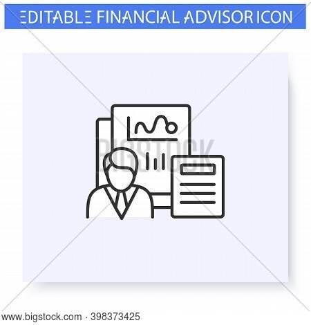 Comprehensive Financial Plan Line Icon. Finance Advisor. Consulting In Business, Accounting And Fina