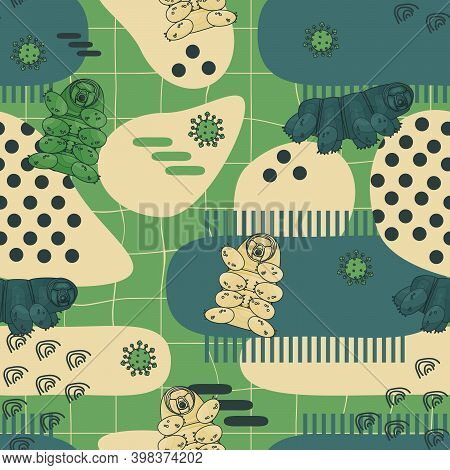 Green, Blue, Beige Abstract Tardigrade Seamless Repeat Pattern With Lines And Dots